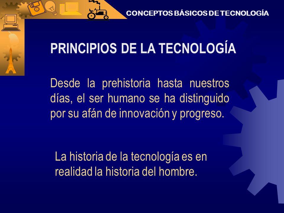 PRINCIPIOS DE LA TECNOLOGÍA Desde la prehistoria hasta nuestros días, el ser humano se ha distinguido por su afán de innovación y progreso.
