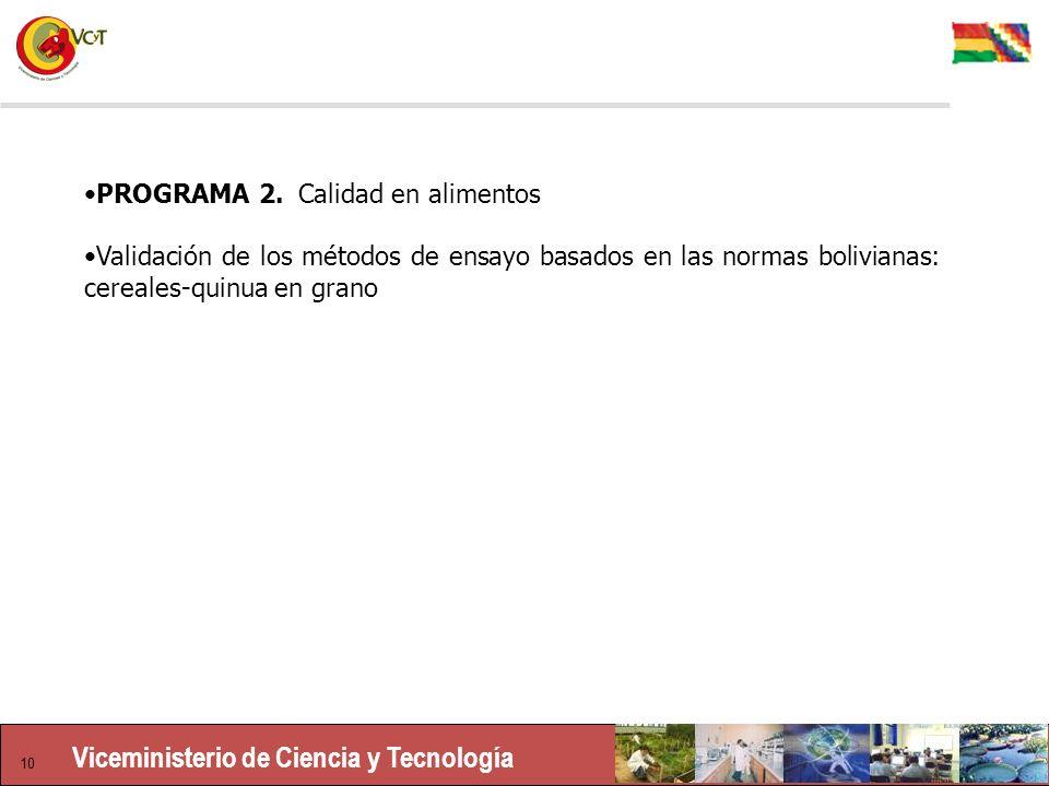 Viceministerio de Ciencia y Tecnología 10 PROGRAMA 2.