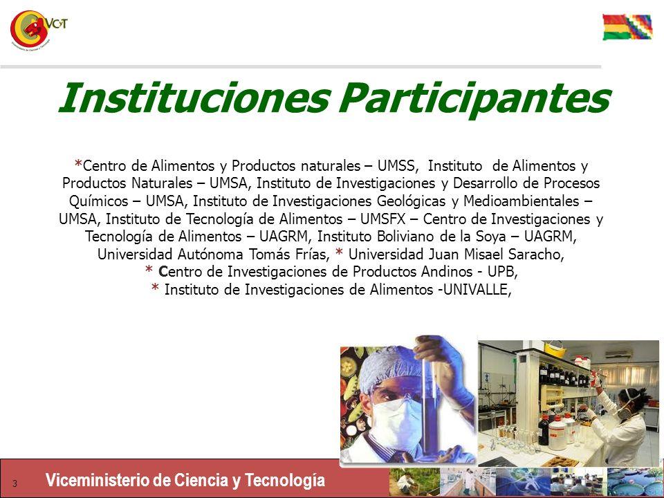 Viceministerio de Ciencia y Tecnología 3 Instituciones Participantes *Centro de Alimentos y Productos naturales – UMSS, Instituto de Alimentos y Productos Naturales – UMSA, Instituto de Investigaciones y Desarrollo de Procesos Químicos – UMSA, Instituto de Investigaciones Geológicas y Medioambientales – UMSA, Instituto de Tecnología de Alimentos – UMSFX – Centro de Investigaciones y Tecnología de Alimentos – UAGRM, Instituto Boliviano de la Soya – UAGRM, Universidad Autónoma Tomás Frías, * Universidad Juan Misael Saracho, * Centro de Investigaciones de Productos Andinos - UPB, * Instituto de Investigaciones de Alimentos -UNIVALLE,