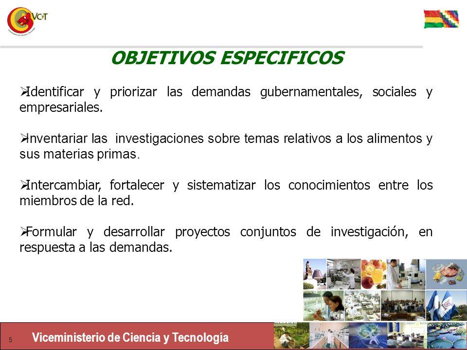 Viceministerio de Ciencia y Tecnología 5 OBJETIVOS ESPECIFICOS Identificar y priorizar las demandas gubernamentales, sociales y empresariales.