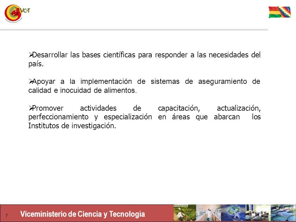 Viceministerio de Ciencia y Tecnología 7 Desarrollar las bases científicas para responder a las necesidades del país.