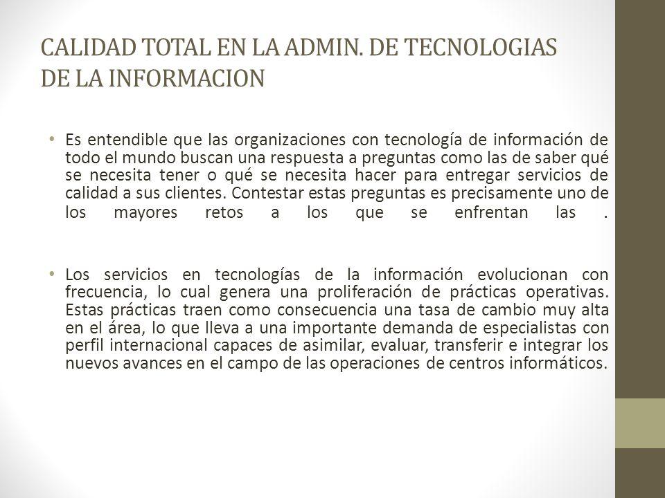 CALIDAD TOTAL EN LA ADMIN. DE TECNOLOGIAS DE LA INFORMACION Es entendible que las organizaciones con tecnología de información de todo el mundo buscan