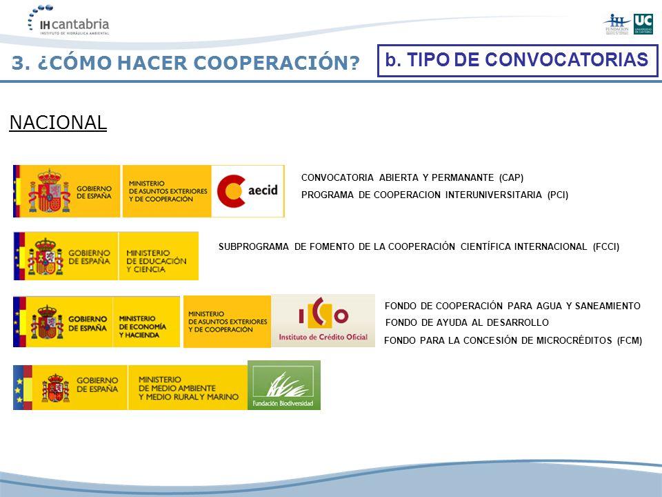 NACIONAL FONDO DE COOPERACIÓN PARA AGUA Y SANEAMIENTO CONVOCATORIA ABIERTA Y PERMANANTE (CAP) PROGRAMA DE COOPERACION INTERUNIVERSITARIA (PCI) FONDO D
