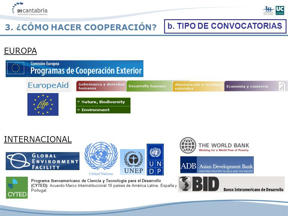 3. ¿CÓMO HACER COOPERACIÓN? EUROPA Programa Iberoamericano de Ciencia y Tecnología para el Desarrollo (CYTED): Acuerdo Marco Interinstitucional 19 paí