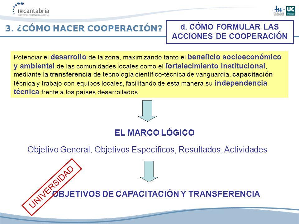 3. ¿CÓMO HACER COOPERACIÓN? EL MARCO LÓGICO Objetivo General, Objetivos Específicos, Resultados, Actividades d. CÓMO FORMULAR LAS ACCIONES DE COOPERAC