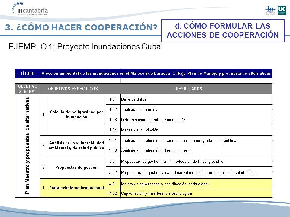 3. ¿CÓMO HACER COOPERACIÓN? d. CÓMO FORMULAR LAS ACCIONES DE COOPERACIÓN EJEMPLO 1: Proyecto Inundaciones Cuba