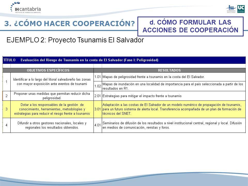 3. ¿CÓMO HACER COOPERACIÓN? d. CÓMO FORMULAR LAS ACCIONES DE COOPERACIÓN EJEMPLO 2: Proyecto Tsunamis El Salvador