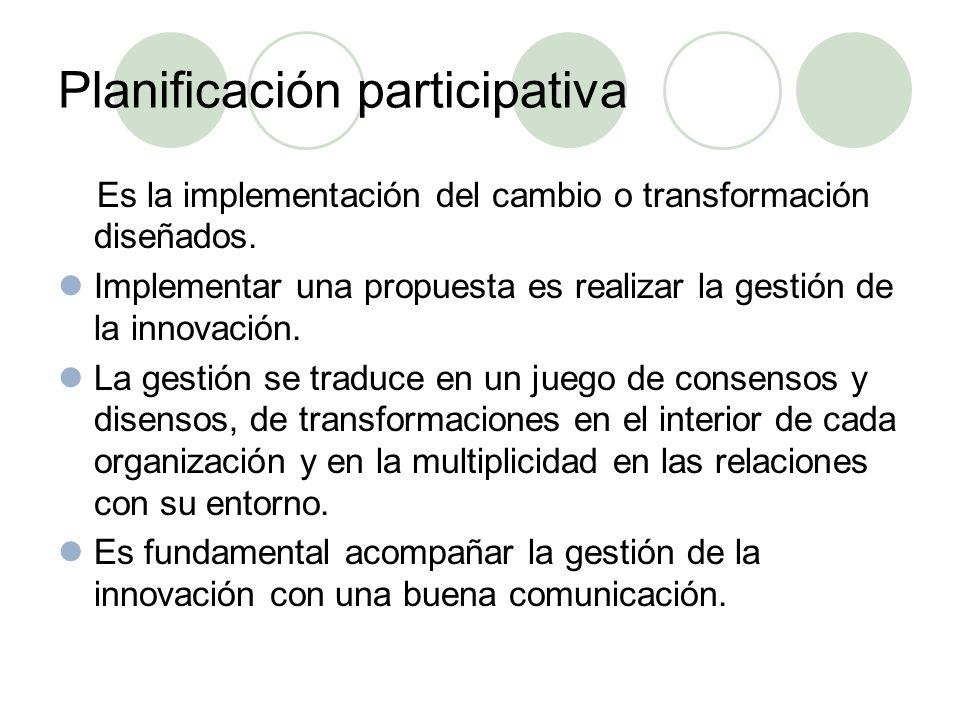Planificación participativa Es la implementación del cambio o transformación diseñados.