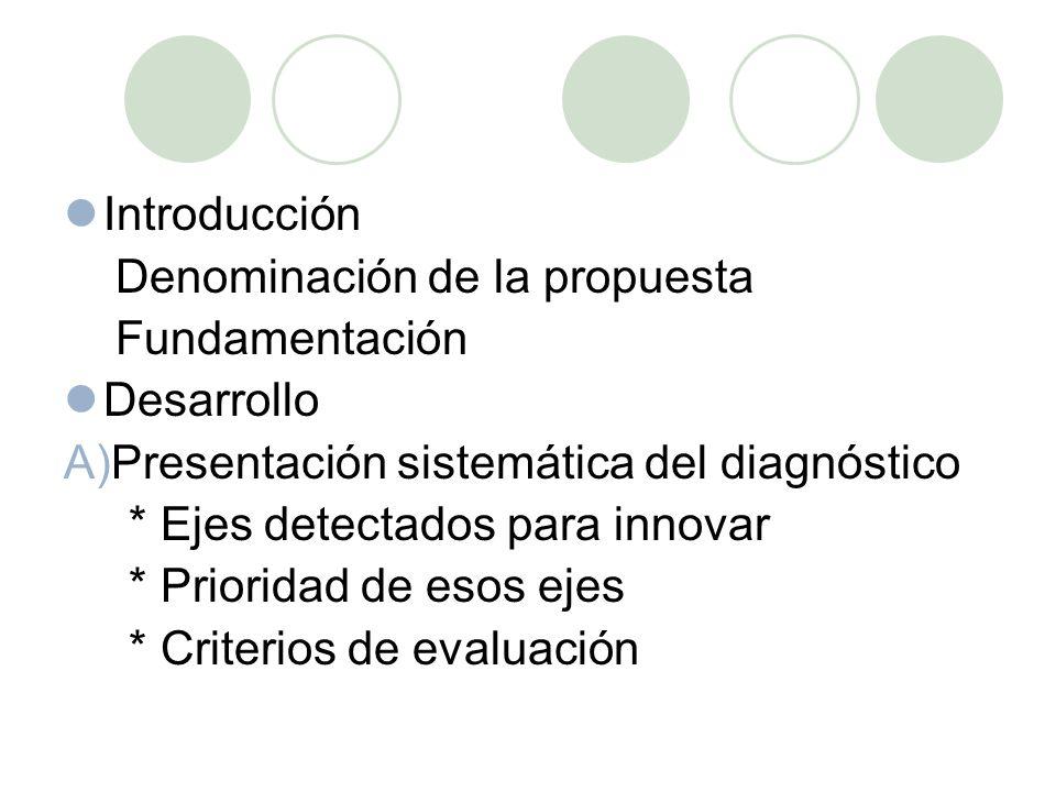 Introducción Denominación de la propuesta Fundamentación Desarrollo A)Presentación sistemática del diagnóstico * Ejes detectados para innovar * Prioridad de esos ejes * Criterios de evaluación