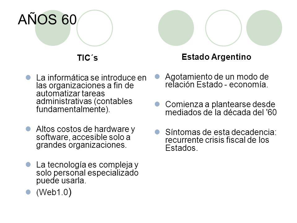 AÑOS 60 TIC´s La informática se introduce en las organizaciones a fin de automatizar tareas administrativas (contables fundamentalmente).