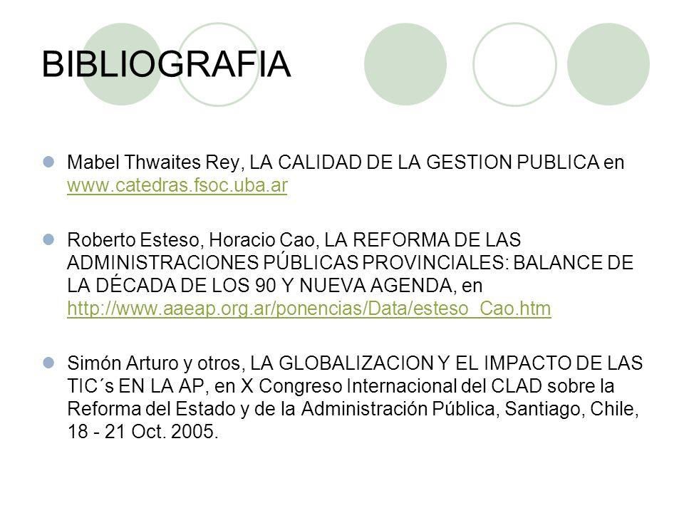 BIBLIOGRAFIA Mabel Thwaites Rey, LA CALIDAD DE LA GESTION PUBLICA en www.catedras.fsoc.uba.ar www.catedras.fsoc.uba.ar Roberto Esteso, Horacio Cao, LA REFORMA DE LAS ADMINISTRACIONES PÚBLICAS PROVINCIALES: BALANCE DE LA DÉCADA DE LOS 90 Y NUEVA AGENDA, en http://www.aaeap.org.ar/ponencias/Data/esteso_Cao.htm http://www.aaeap.org.ar/ponencias/Data/esteso_Cao.htm Simón Arturo y otros, LA GLOBALIZACION Y EL IMPACTO DE LAS TIC´s EN LA AP, en X Congreso Internacional del CLAD sobre la Reforma del Estado y de la Administración Pública, Santiago, Chile, 18 - 21 Oct.