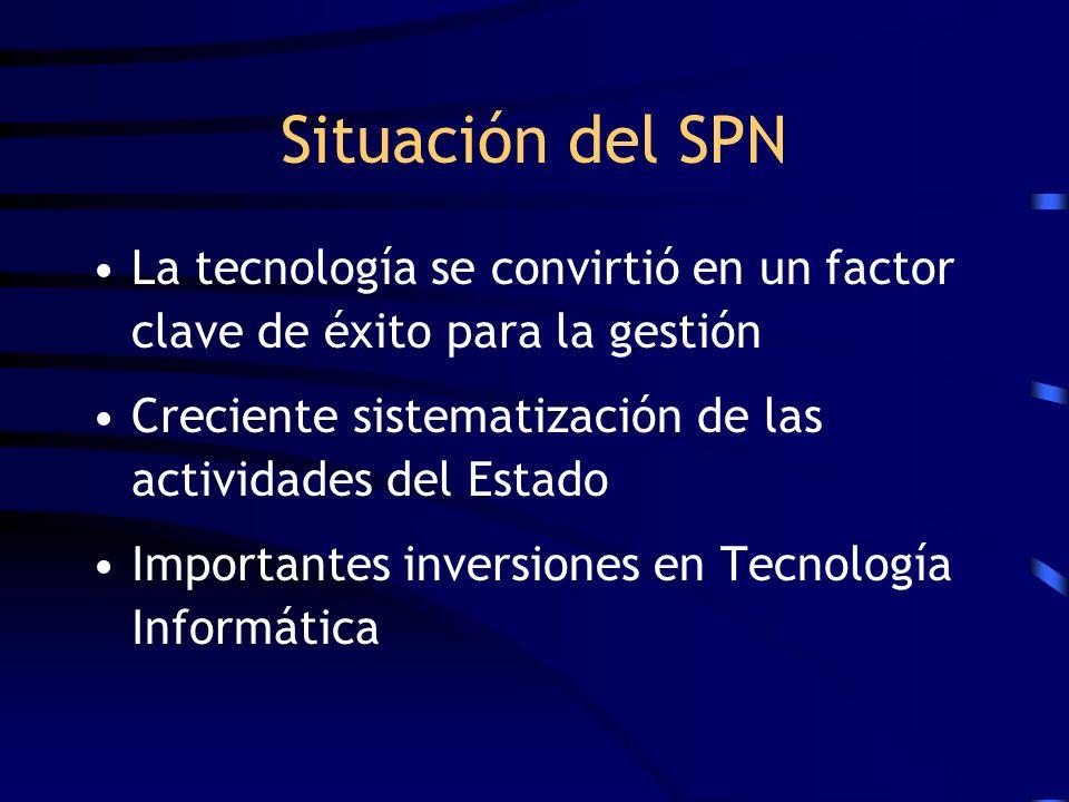 Situación del SPN La tecnología se convirtió en un factor clave de éxito para la gestión Creciente sistematización de las actividades del Estado Impor