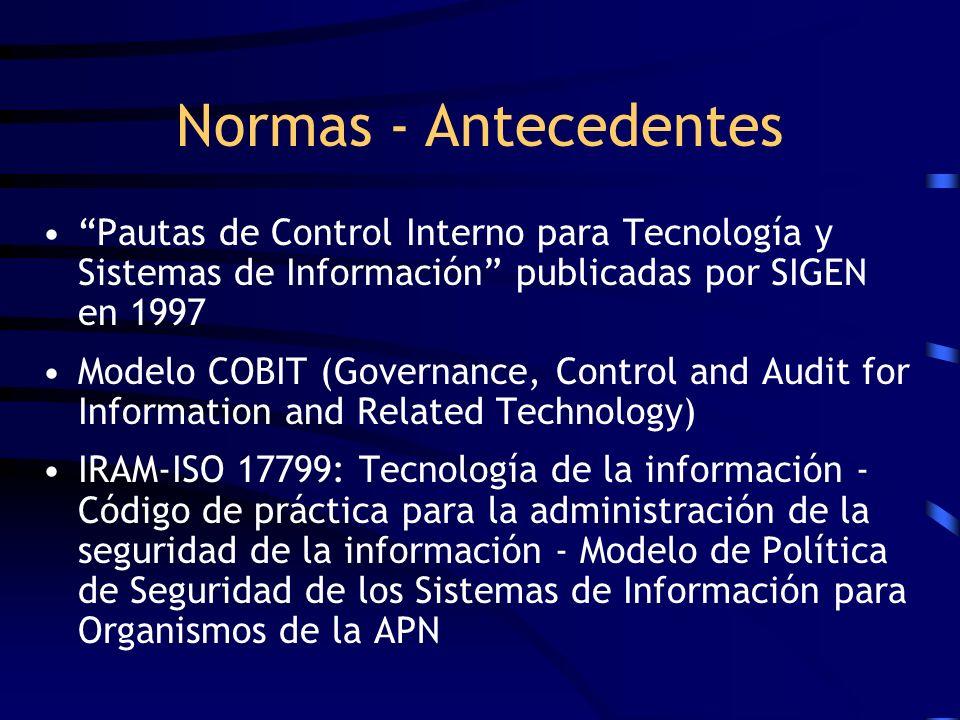 Pautas de Control Interno para Tecnología y Sistemas de Información publicadas por SIGEN en 1997 Modelo COBIT (Governance, Control and Audit for Infor