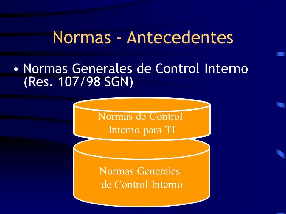Normas Generales de Control Interno (Res. 107/98 SGN) Normas - Antecedentes Normas Generales de Control Interno Normas de Control Interno para TI