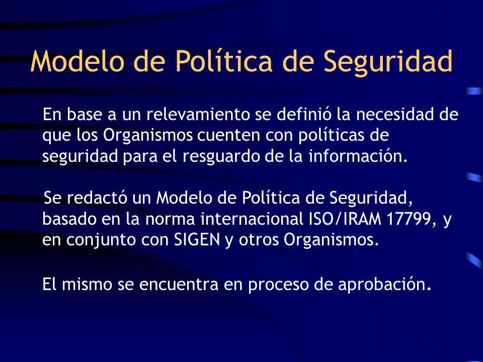 Modelo de Política de Seguridad En base a un relevamiento se definió la necesidad de que los Organismos cuenten con políticas de seguridad para el res