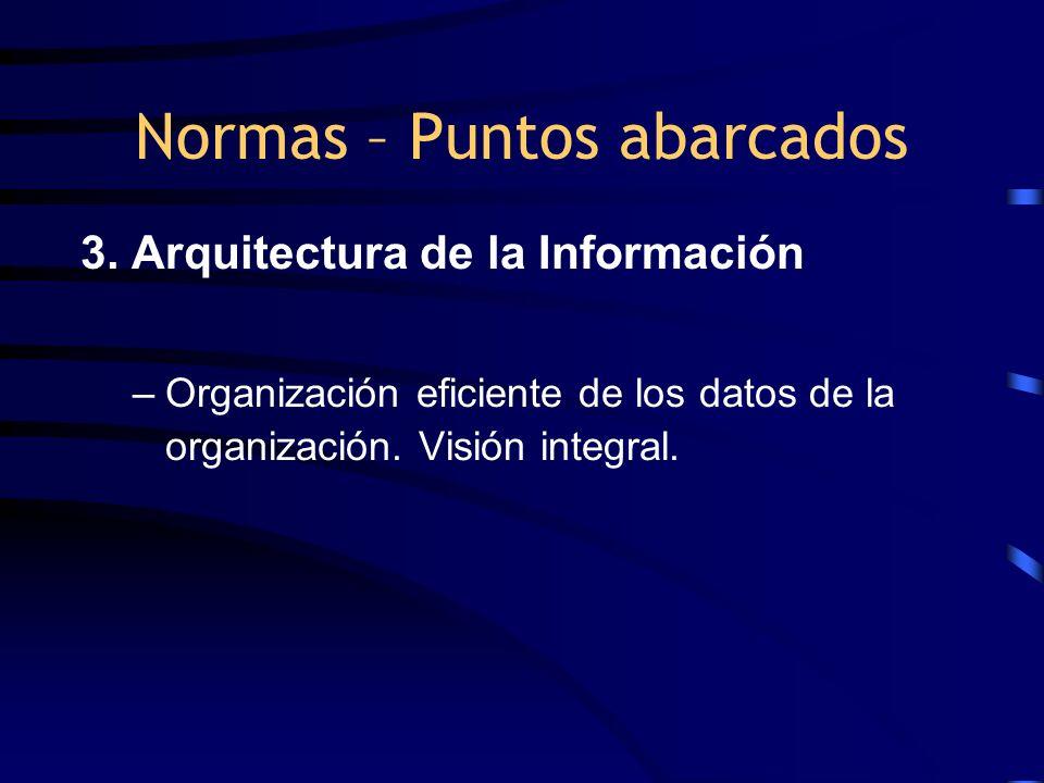3. Arquitectura de la Información –Organización eficiente de los datos de la organización. Visión integral. Normas – Puntos abarcados
