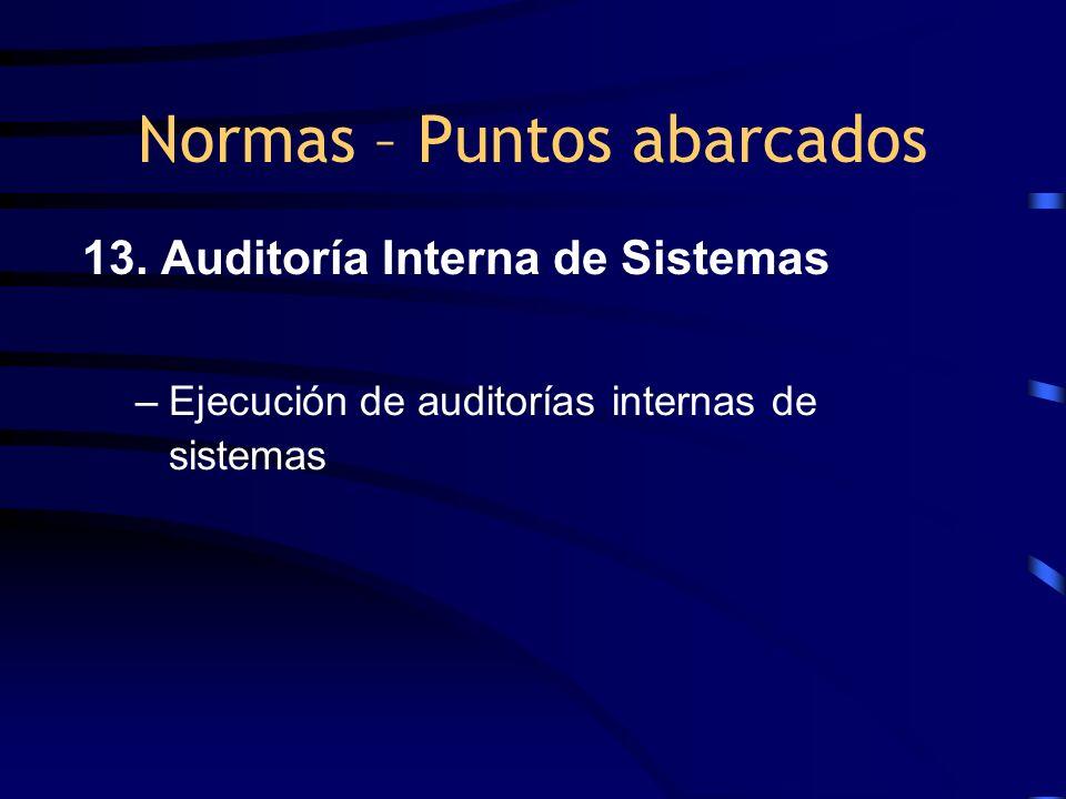 13. Auditoría Interna de Sistemas –Ejecución de auditorías internas de sistemas Normas – Puntos abarcados
