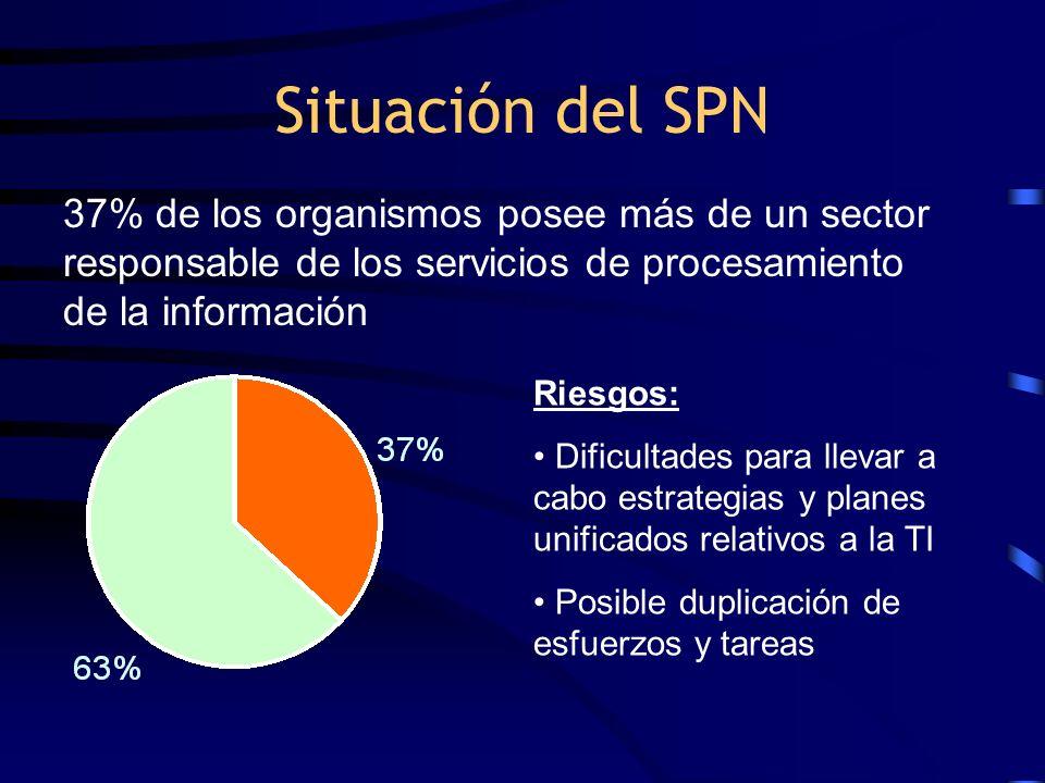 Situación del SPN Riesgos: Dificultades para llevar a cabo estrategias y planes unificados relativos a la TI Posible duplicación de esfuerzos y tareas