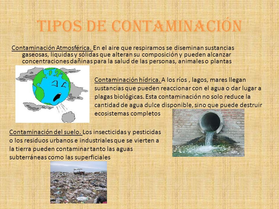 Tipos de contaminación Contaminación Atmosférica.