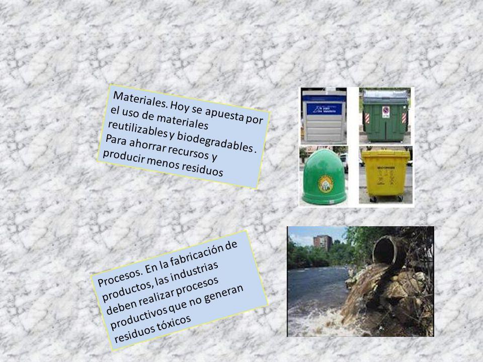 Materiales.Hoy se apuesta por el uso de materiales reutilizables y biodegradables.