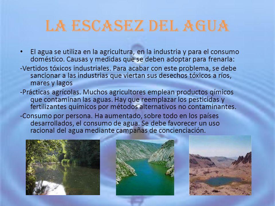 La escasez del agua El agua se utiliza en la agricultura, en la industria y para el consumo doméstico.
