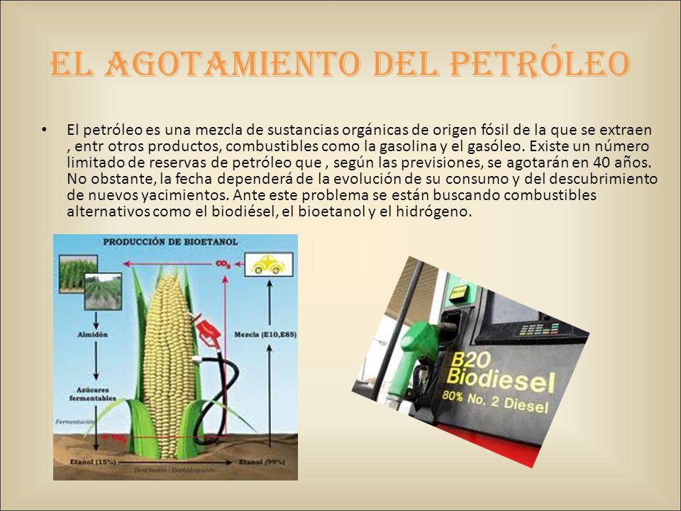 El agotamiento del petróleo El petróleo es una mezcla de sustancias orgánicas de origen fósil de la que se extraen, entr otros productos, combustibles como la gasolina y el gasóleo.