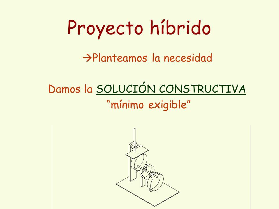 Proyecto híbrido Planteamos la necesidad Damos la SOLUCIÓN CONSTRUCTIVA mínimo exigible