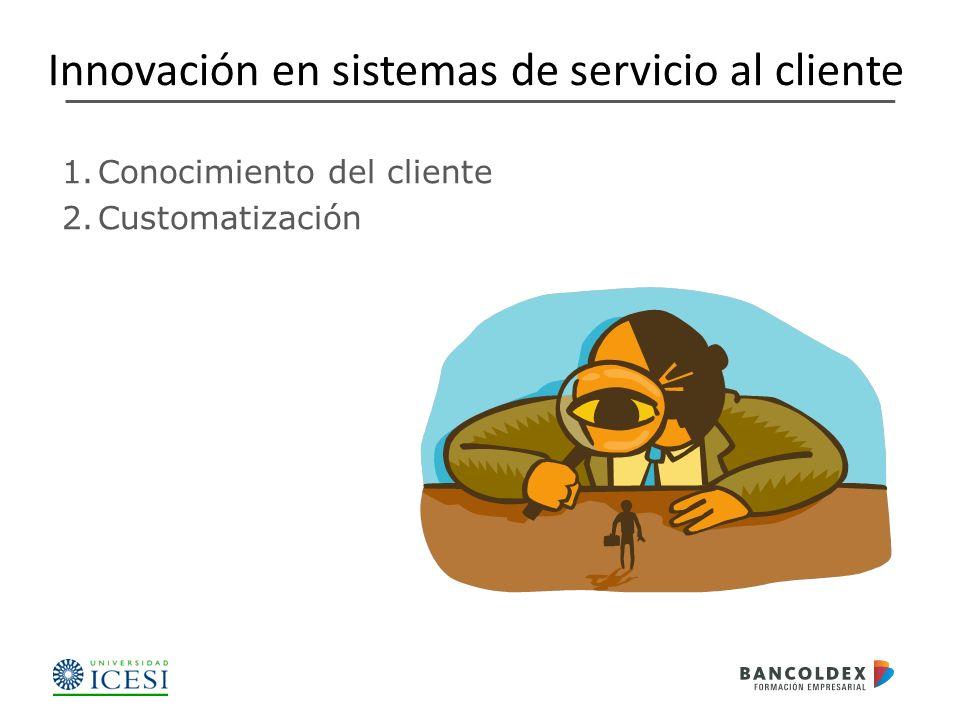 1.Conocimiento del cliente 2.Customatización Innovación en sistemas de servicio al cliente