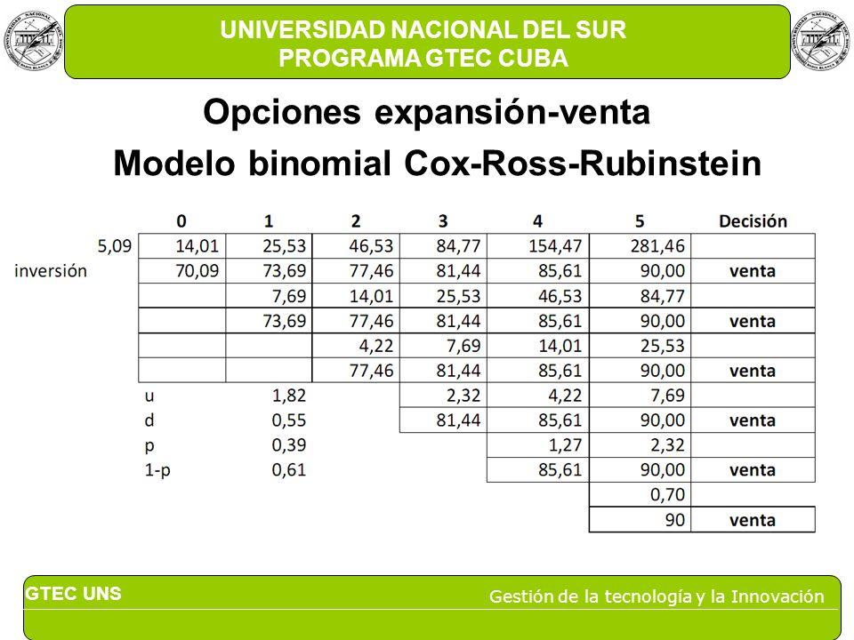 GTEC UNS Gestión de la tecnología y la Innovación UNIVERSIDAD NACIONAL DEL SUR PROGRAMA GTEC CUBA Opciones expansión-venta Modelo binomial Cox-Ross-Ru