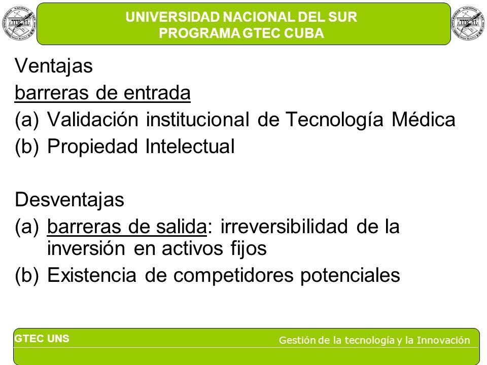 GTEC UNS Gestión de la tecnología y la Innovación UNIVERSIDAD NACIONAL DEL SUR PROGRAMA GTEC CUBA Ventajas barreras de entrada (a)Validación instituci