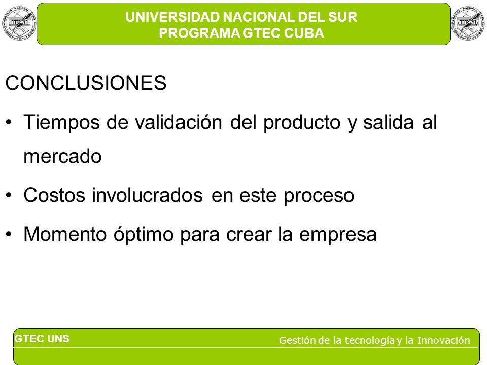 GTEC UNS Gestión de la tecnología y la Innovación UNIVERSIDAD NACIONAL DEL SUR PROGRAMA GTEC CUBA CONCLUSIONES Tiempos de validación del producto y sa