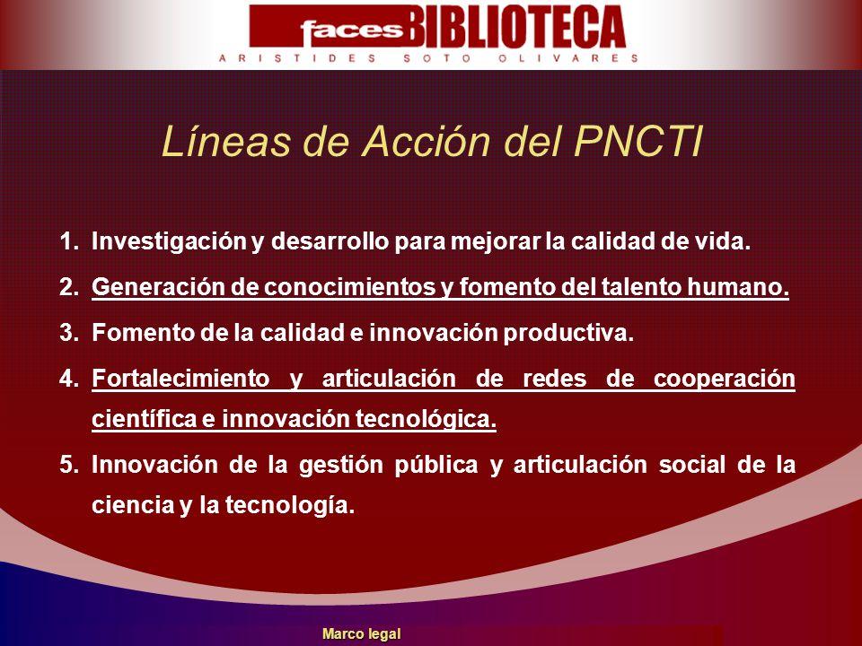 Líneas de Acción del PNCTI 1.Investigación y desarrollo para mejorar la calidad de vida. 2.Generación de conocimientos y fomento del talento humano. 3