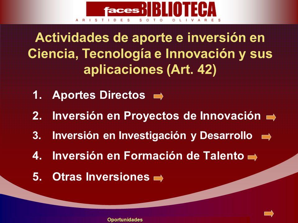 1.Aportes Directos 2.Inversión en Proyectos de Innovación 3.Inversión en Investigación y Desarrollo 4.Inversión en Formación de Talento 5.Otras Inversiones Actividades de aporte e inversión en Ciencia, Tecnología e Innovación y sus aplicaciones (Art.