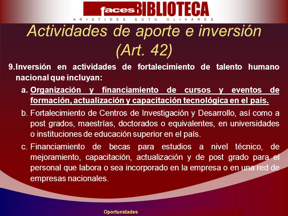 Actividades de aporte e inversión (Art.