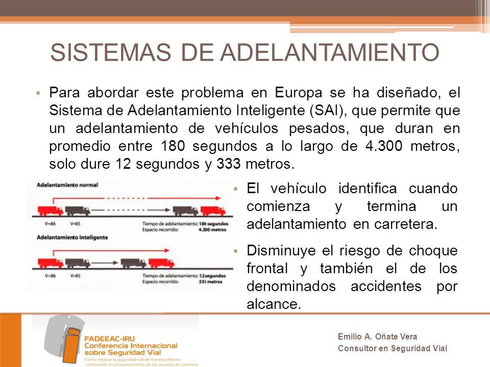 SISTEMAS DE ADELANTAMIENTO Para abordar este problema en Europa se ha diseñado, el Sistema de Adelantamiento Inteligente (SAI), que permite que un adelantamiento de vehículos pesados, que duran en promedio entre 180 segundos a lo largo de 4.300 metros, solo dure 12 segundos y 333 metros.