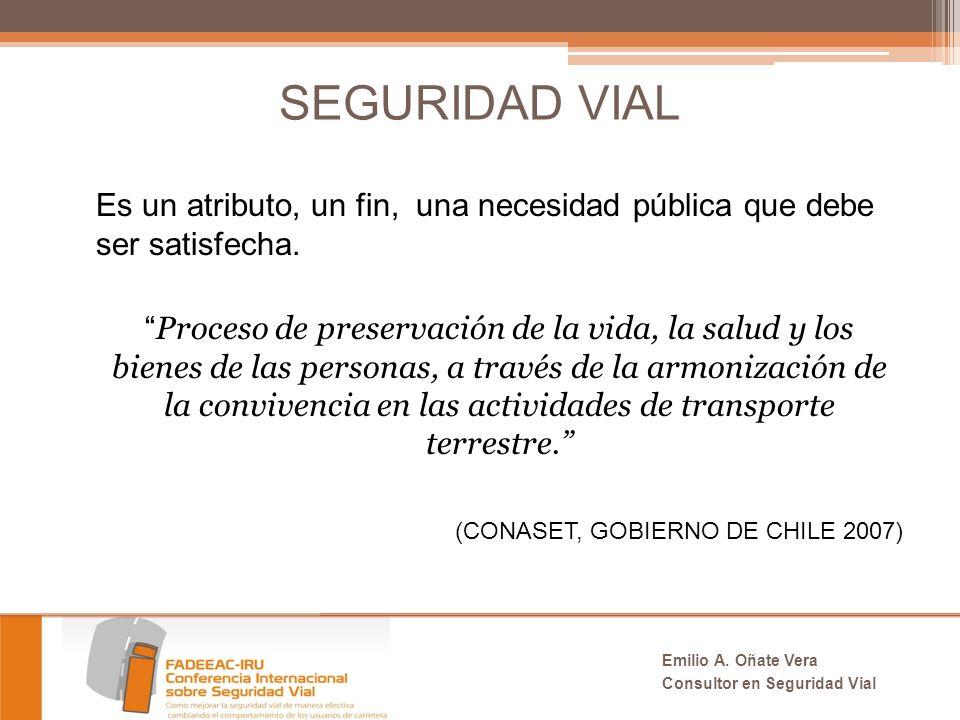 SEGURIDAD VIAL Es un atributo, un fin, una necesidad pública que debe ser satisfecha.