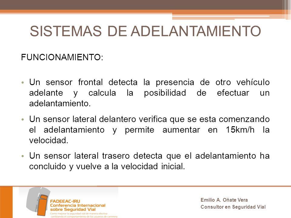 SISTEMAS DE ADELANTAMIENTO FUNCIONAMIENTO: Un sensor frontal detecta la presencia de otro vehículo adelante y calcula la posibilidad de efectuar un adelantamiento.