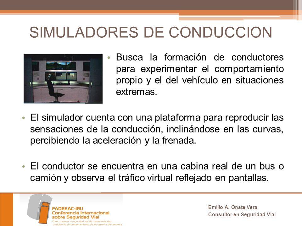 SIMULADORES DE CONDUCCION Busca la formación de conductores para experimentar el comportamiento propio y el del vehículo en situaciones extremas.