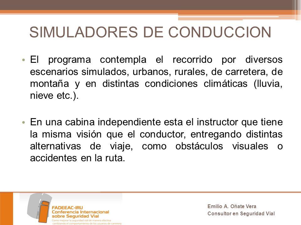 SIMULADORES DE CONDUCCION El programa contempla el recorrido por diversos escenarios simulados, urbanos, rurales, de carretera, de montaña y en distintas condiciones climáticas (lluvia, nieve etc.).