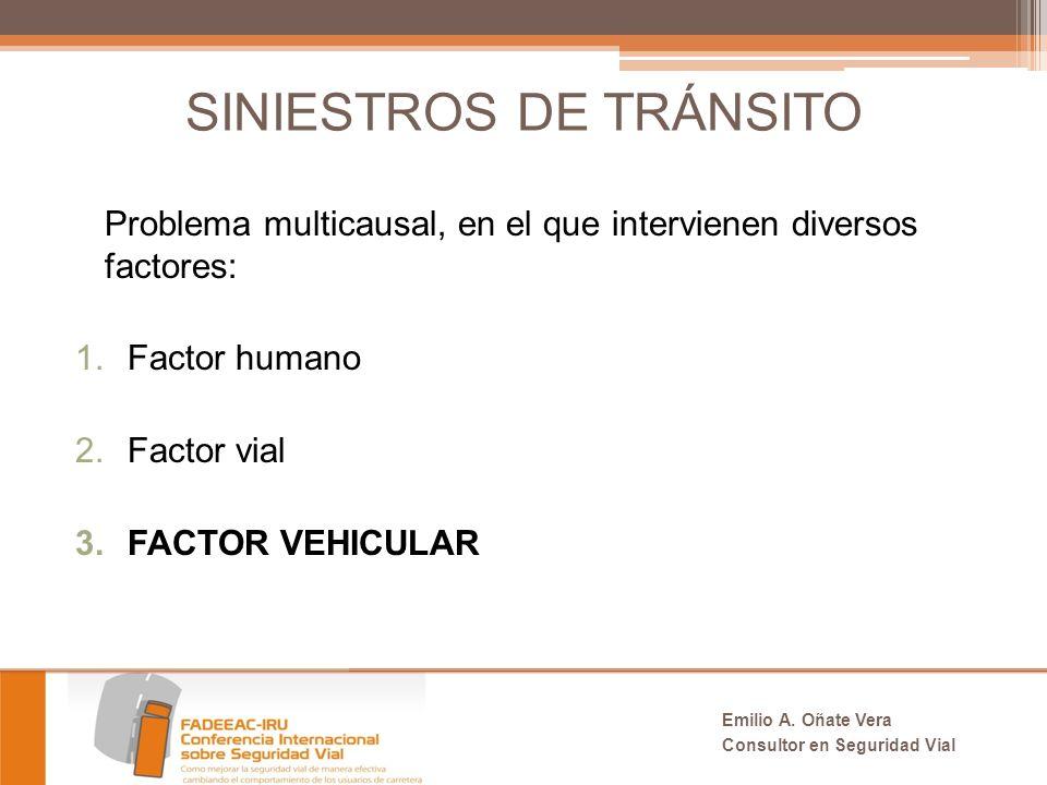 SINIESTROS DE TRÁNSITO Problema multicausal, en el que intervienen diversos factores: 1.Factor humano 2.Factor vial 3.FACTOR VEHICULAR Emilio A.