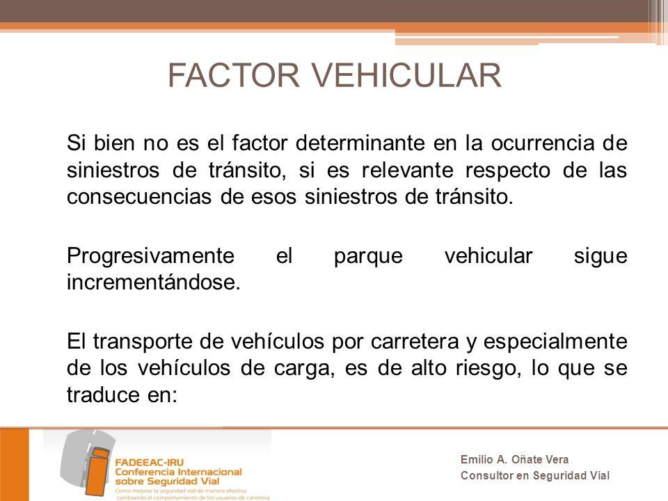 FACTOR VEHICULAR Si bien no es el factor determinante en la ocurrencia de siniestros de tránsito, si es relevante respecto de las consecuencias de esos siniestros de tránsito.