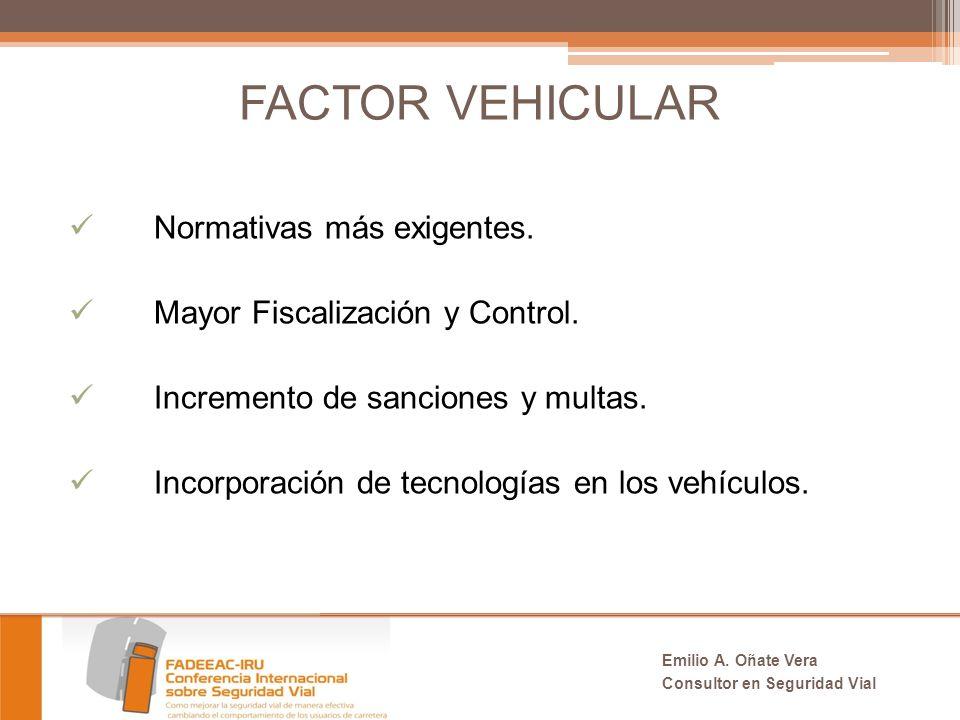 FACTOR VEHICULAR Normativas más exigentes.Mayor Fiscalización y Control.