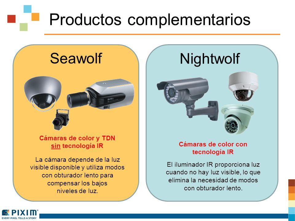 Productos complementarios Seawolf Cámaras de color y TDN sin tecnología IR La cámara depende de la luz visible disponible y utiliza modos con obturador lento para compensar los bajos niveles de luz.