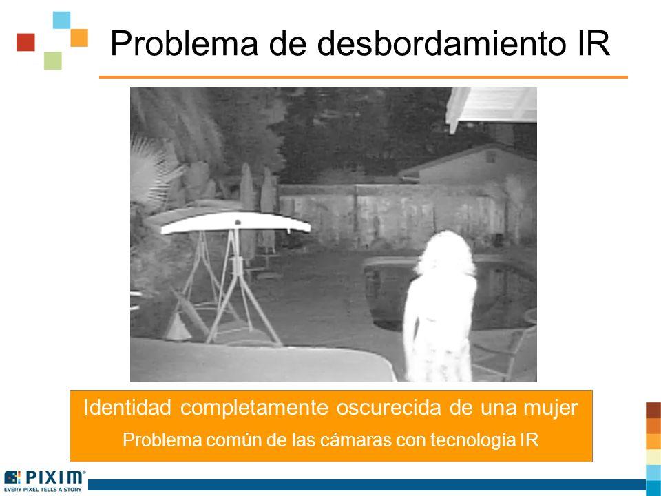 Problema de desbordamiento IR Identidad completamente oscurecida de una mujer Problema común de las cámaras con tecnología IR