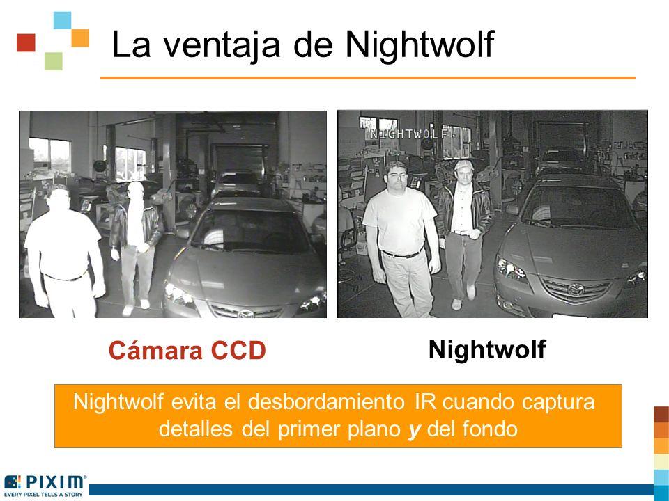 Otros métodos Intelligent IR no lo logran Nightwolf Tecnología CNB Intelligent IR Nightwolf permite que el iluminador IR mantenga su máxima capacidad para que la cámara pueda operar a la distancia especificada al tiempo que captura los detalles del fondo y del primer plano Detalles del fondo y laterales