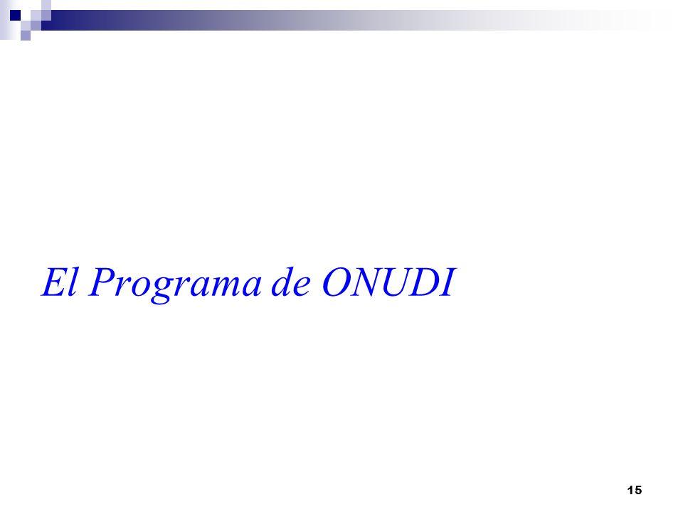 15 El Programa de ONUDI