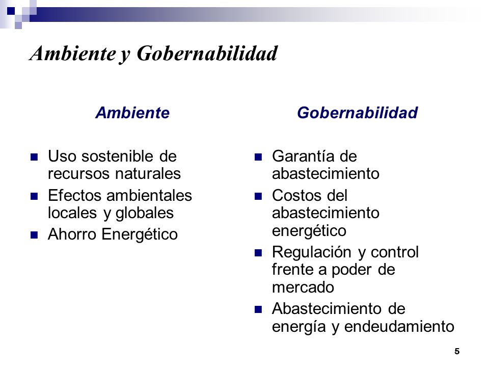 5 Ambiente y Gobernabilidad Ambiente Uso sostenible de recursos naturales Efectos ambientales locales y globales Ahorro Energético Gobernabilidad Garantía de abastecimiento Costos del abastecimiento energético Regulación y control frente a poder de mercado Abastecimiento de energía y endeudamiento