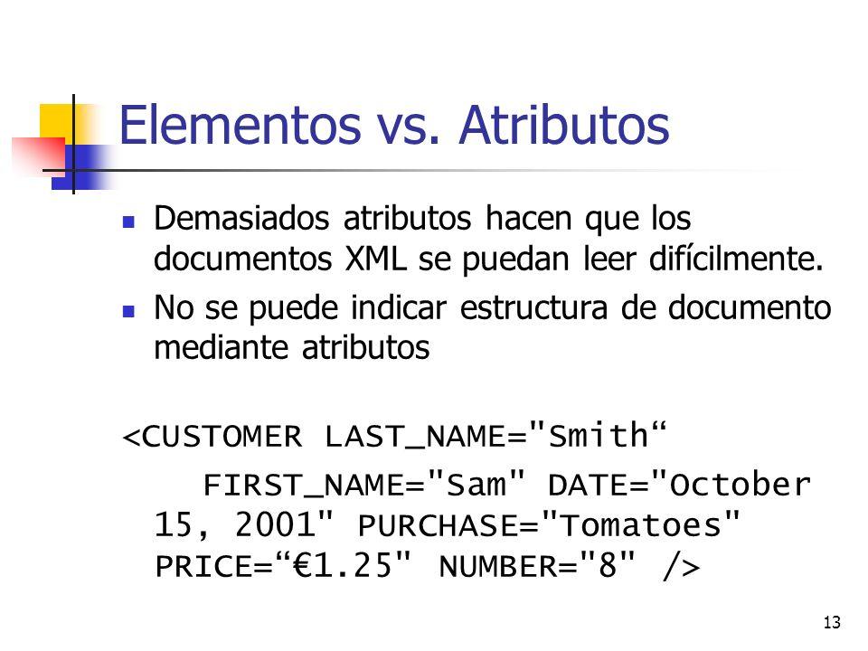 13 Elementos vs. Atributos Demasiados atributos hacen que los documentos XML se puedan leer difícilmente. No se puede indicar estructura de documento