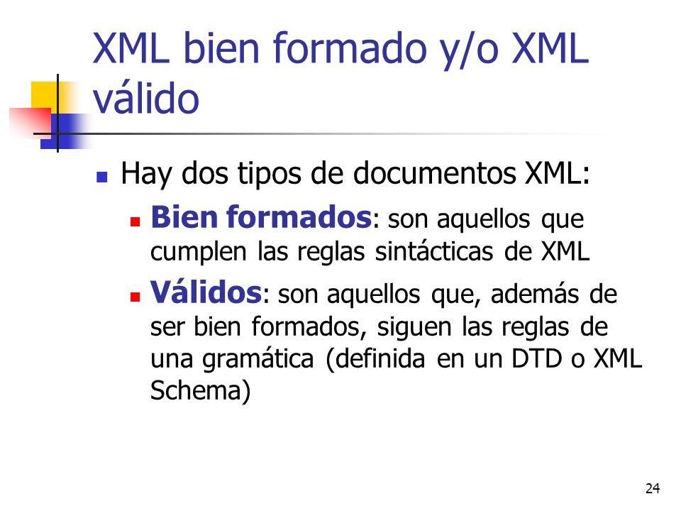 24 XML bien formado y/o XML válido Hay dos tipos de documentos XML: Bien formados : son aquellos que cumplen las reglas sintácticas de XML Válidos : s