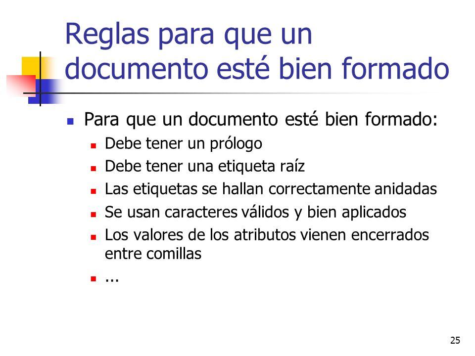25 Reglas para que un documento esté bien formado Para que un documento esté bien formado: Debe tener un prólogo Debe tener una etiqueta raíz Las etiq